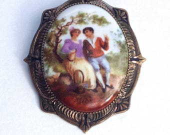 French Porcelain Brooch Victorian Frame
