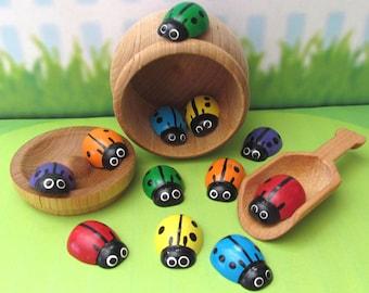 Rainbow Ladybugs Montessori Scoop and Sort Set - Rainbow Ladybugs Colour Sorting Set