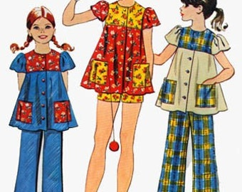 Vintage 1970s Girls Smock Top and Pants or Shorts Sewing Pattern Simplicity 5602 Retro 70s Childrens Pattern Size Chubbie 14.5