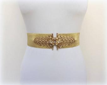Gold glitter elastic waist belt. Gold filigree belt. Wide dress belt. Evening belt. Bridal belt.