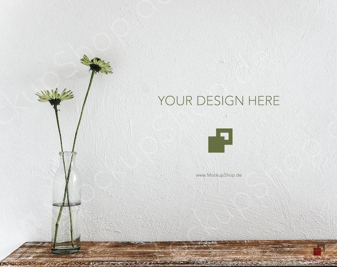MOCKUP SCANDINAVIAN DESIGN Background two Flowers on vintage wood // White Wall // Scrapbook // Instand Donwload / jpg download Mockup
