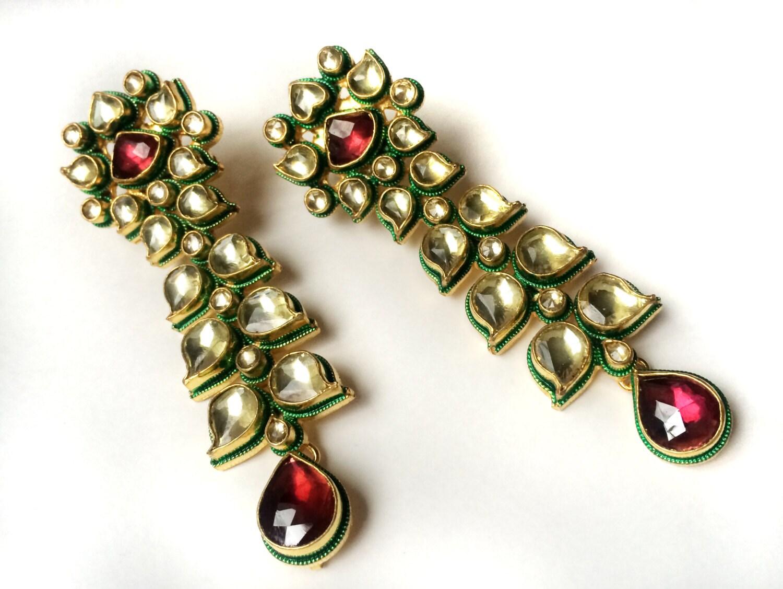 Kundan chandelier earrings pink rhodolite 22k gold plated zoom aloadofball Choice Image