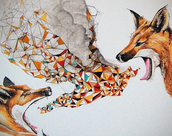 Smoke Signals, Fox, Modern Print, contemporary, wall art, fox print, fox art, wildlife print, open Edition, Giclee Print, Size 18 x 14