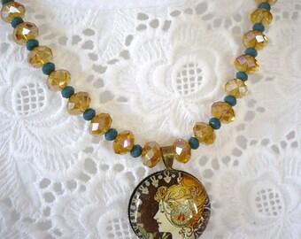 Crystal embellished with a vintage Medallion necklace