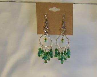 Green Bead Chandelier Earrings