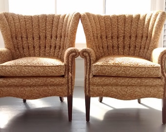 Vintage, Wing Back Chairs, Accent Chairs, Sofa Chairs, Upholstered Chairs, Channel Back, Button Back, Mid Century, Pair, RhymeswithDaughter