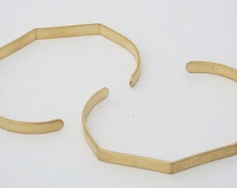 Pkg of 2 Five Sided Brass Bracelet Cuff Blanks for Jewelry Making 1/4 inch
