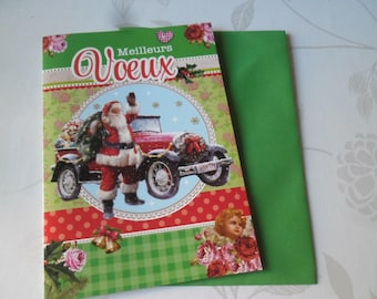 1 x double cardstock Christmas patterned card + envelope 16 x 11.5 cm