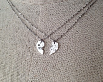 Best Friend Heart Necklace in Silver, Dainty Necklace