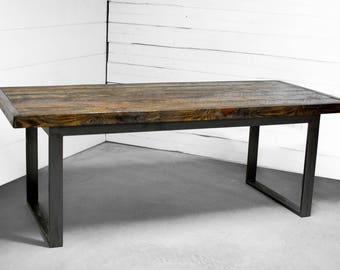 Wood Dining Table, Wood Furniture, Industrial Wood Dining Table, Kitchen Table, Loft Wood Dining Table, Reclaimed Wood Table - FREE Ship