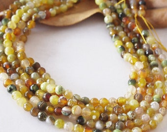 Strand Gemstone Agate Faceted Beads Multi Colour Green Yellow Ochre Size 6mm Ideal For Necklace, Earrings Or Bracelets Quantity 60 Beads