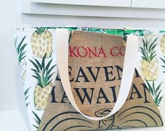 Heavenly Hawaiian Coffee Sack Tote / Beach Bag/ Market Tote/ Pineapples