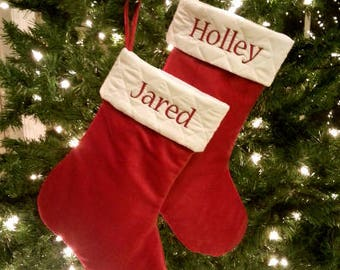 Personalized Christmas Stockings. Traditional Christmas Stocking. Red or Burgundy Velvet Christmas Stocking. Ivory Cream White Quilted top