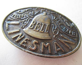 Bell Linesman Vintage Brass Belt Buckle - Bronze Metal - Etsy Accessories - Hickster - Men - Man Stuff - Telephone - Telegraph - Costume