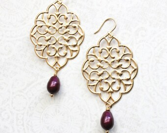 Gold Filigree Earrings Burgundy Wedding Big Filigree Dangle Large Gold Chandelier Berry Maroon Pearl Drop Bridal Jewelry Bridesmaids Gift