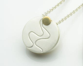 Silver and Gold Ripple Locket - Large