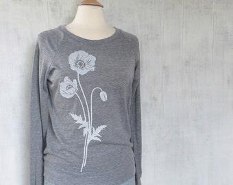Womens Graphic Sweatshirt - Grey Sweatshirt for Women - Long Sleeve Womens Sweatshirt - Printed Womens Sweat Shirt - Poppy Sweatshirt