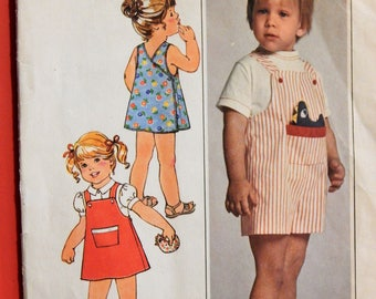 Vintage baby pattern Simplicity 8047 Cute back wrap dress, jumper and overalls Size 1