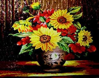 Flower Mosaic Art - Sunflowers