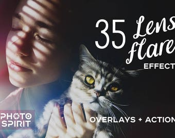 Download Lens Flare Effect Photoshop Overlays Actions — Package of Textures in with quick Actions, Photo Collection