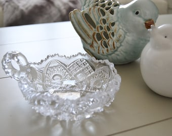 American Brilliant Period  DISH or Candleholder with Handle Sparkly Glass Early 1900s
