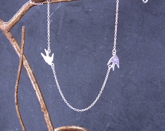 Bird Necklace, Sterling Silver Bird Necklace, Flying Bird Necklace, Bird Pendant, Bird Layering Necklace, Swallow Necklace, 925 Bird