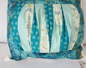Handmade patchwork pillow - Blue  Green Pillow, Bedroom decor - flowers and butterflies - gold embossed fabric - home decor pillow