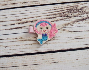 Handcrafted Pink and Blue Mermaid Feltie Clip - Small Hair Bow - Mermaid Birthday Accessory - Mermaid Hair Bows - Cute Hair Clip - Baby Gift