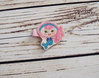 Handcrafted Pink and Blue Mermaid Feltie Clip - Small Hair Bow - Mermaid Birthday Accessory - Mermaid Hair Bows - Cute Hair Clip - Baby Gift