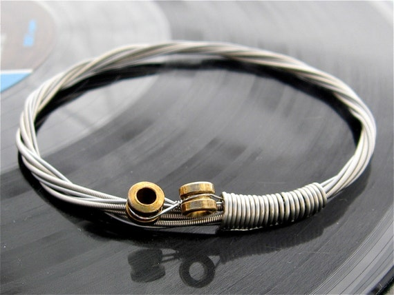 recycled bass guitar string bracelet with brass ball ends. Black Bedroom Furniture Sets. Home Design Ideas