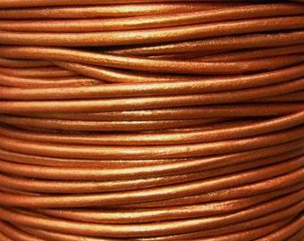 Round Metallic Leather Cord 2mm Metallic Bronze, Pick From the Drop Down Menu