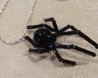 Beaded Black Widow Necklace