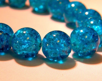 10 beads 12mm translucent crackled glass - turquoise-PE262-7