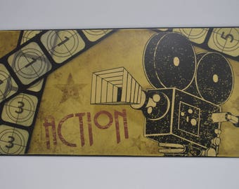 """Movie Themed Wall Decor """"action"""" projector wall hanger movie room"""