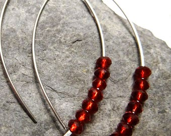 Earrings Silver 925/1000 and Ruby Red Crystal