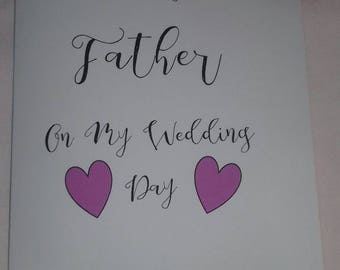 To My Father/ Mother On My Wedding Day, Cards From The Bride, Mother Of The Bride Card, Father Of The Bride Card, Thank You Wedding party