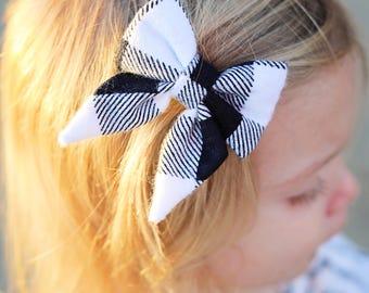 Black and white plaid Ava bow / sailor bow