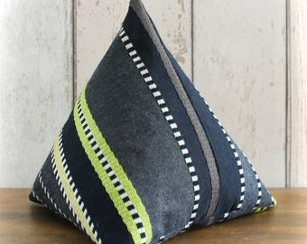 Fabric Doorstop, Doorstopper in Black, Cream & Lime Striped Fabric, Triangular, Pyramid Shape