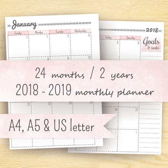 2018 Monthly Planner Printable Planner 2018-2019 Month On