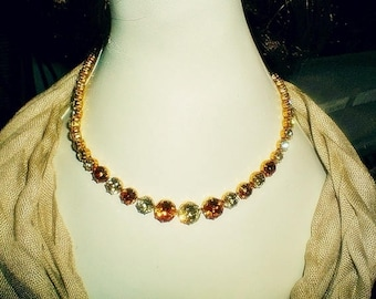 Vintage 60's Orange and Chartreuse Rhinestone Petite Bridal Necklace
