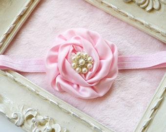 Single Pink Rose Pearl Center Headband Infant Toddler Girls Womens