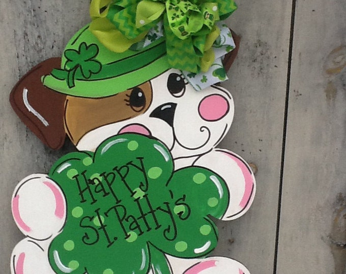 St. Patricks door sign, st. Patricks door hanger, st. Patricks dog sign, leprechaun door hanger, st. Party's door sign, luck of the Irish