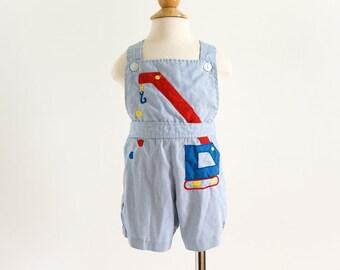 """Vintage 1970s Toddler Size 12-18M Tiny Tots Cotton Striped Shortalls VGC Construction Crane Applique Primary Colors, w19-22 L17"""""""