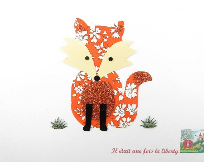 Applied fusible liberty Fox Capel fabric orange - glitter flex patch Fox iron escutcheon Fox applique iron on fox