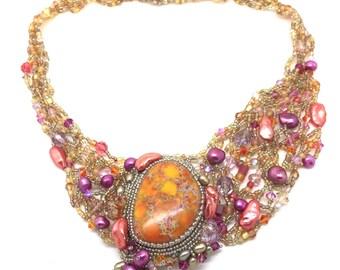 Sea Sediment Jasper Asymmetrical Beadwork Necklace with Freshwater Pearls and Swarovski Crystals