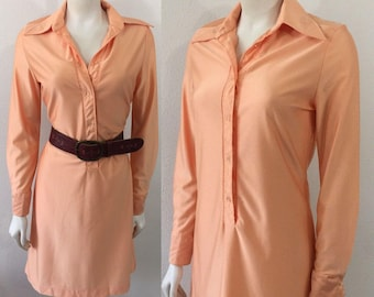 Vintage 70s Dress Peach Shift Dress with Large Collar