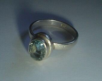 Silver ring sterling blue topaz stacking vintage size 9 UK R.5