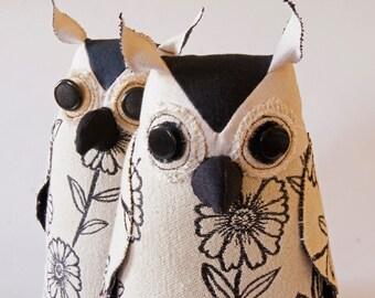 SALE Soft Sculpture Fiber Art Woodland Owl Textile Art Bird Black and White Upholstery Fabric Luxury Gift Wildlife Fiber Art