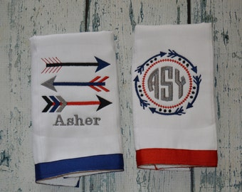 Personalized Arrow Burp cloth Set of 2 Monogrammed