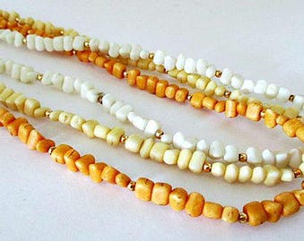 Triple Strand Bead Vintage 25 Inch Long Necklace /  Vintage Hippie Love Beads Jewelry Gift